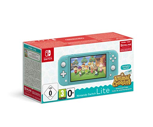 Console Nintendo Switch Lite Turquoise + Animal Crossing : New Horizon + 3 mois d'abonnement Nintendo Switch Online