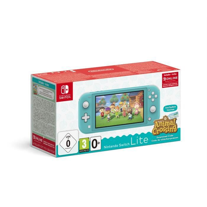 Pack Nintendo Switch Lite Turquoise + Animal Crossing New Horizons + Abonnement 3 mois Individuel au service Nintendo Switch Online
